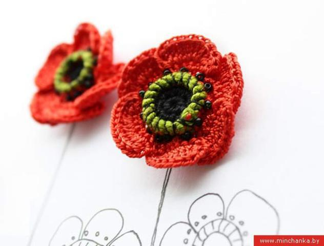 Free Crochet Pattern For Poppy Flower : Crochet Flower Patterns and Designs For Beginners