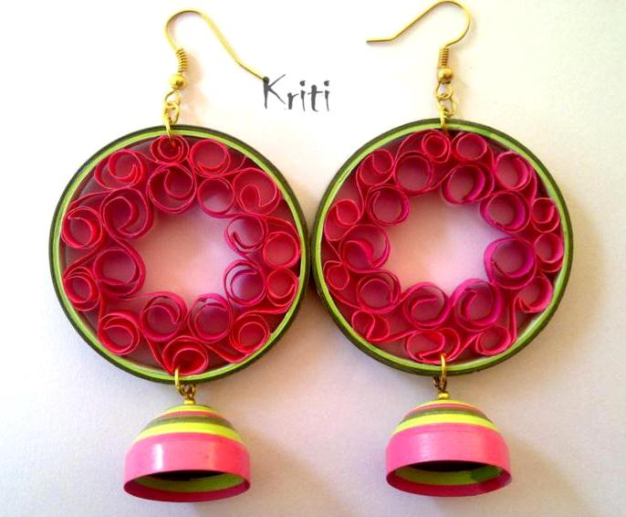 Quilling Earrings Designs Images : Paper Quilling Jhumka Designs By Kriti Handmade Jewelry - Life Chilli
